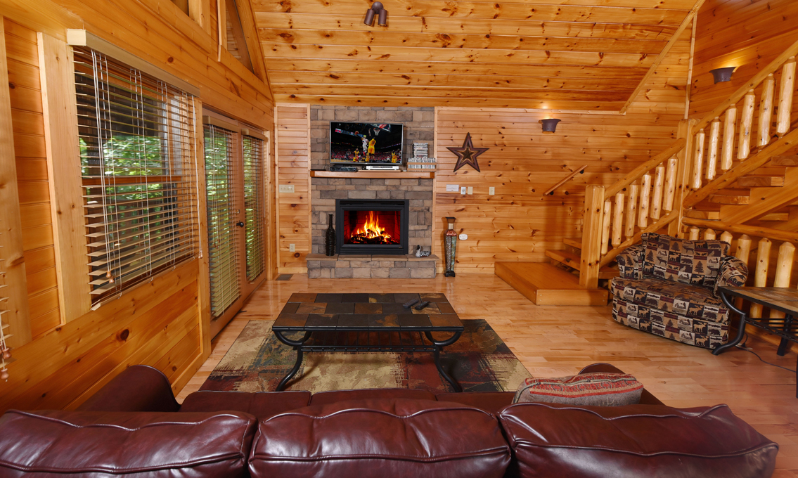 stunning log cabin living room | Gatlinburg Cabins — Queen's Log Cabin