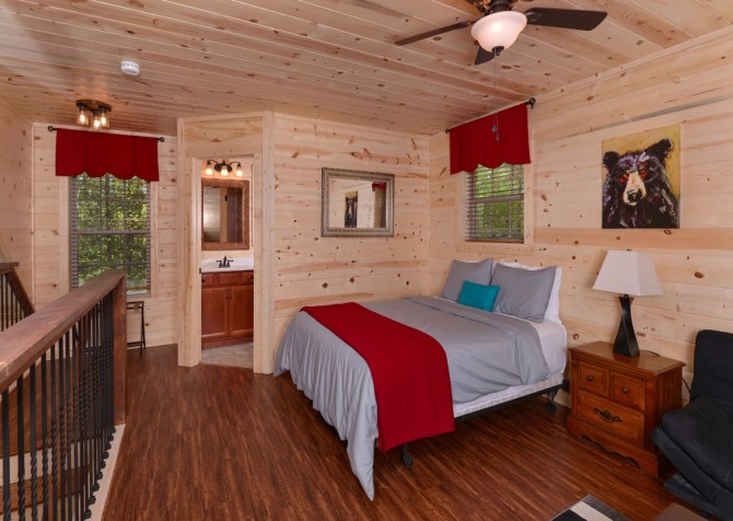 Pigeon Forge Cabin- Along The Right Path – Loft Bedroom