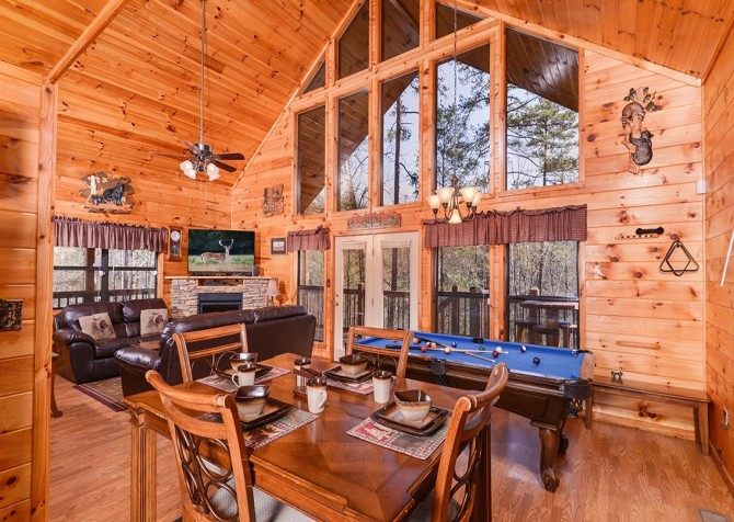 Pigeon Forge Cabin- Amazing Grace – Living Room - Dining Area - Pool Table