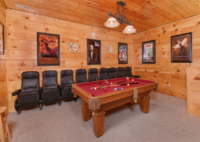 Pigeon Forge Cabin -Awesome Getaway and a Theater – Pool Table - Theater Room