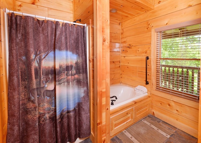 Pigeon Forge Cabin- Awesome Views Mountain Retreat– Bathroom 1 Shower - Indoor Jetted Tub