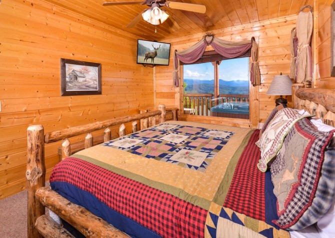 Pigeon Forge Cabin- Awesome Views and a Theater – Bedroom 1