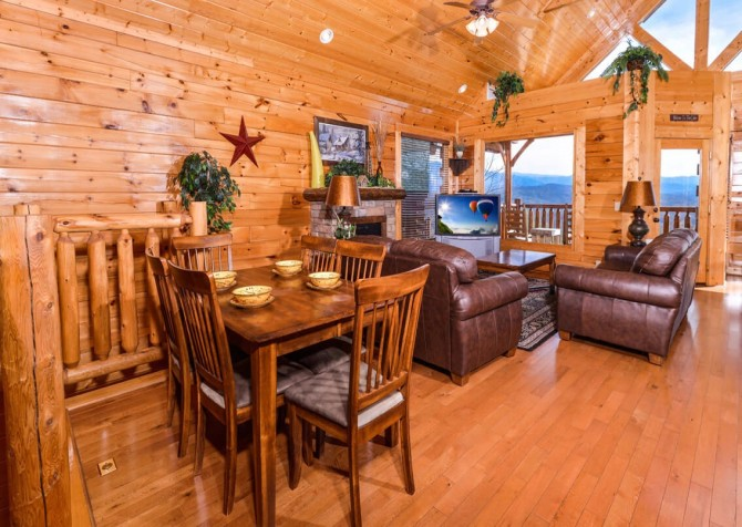 Pigeon Forge Cabin- Awesome Views and a Theater – Living Room - Dining Area