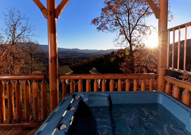 Pigeon Forge Cabin- Awesome Views and a Theater – Fall Outdoor Hot Tub View