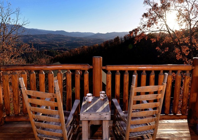 Pigeon Forge Cabin- Awesome Views and a Theater – Fall Deck Rocking Chairs View