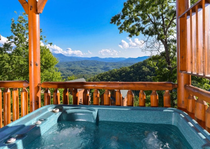 Pigeon Forge Cabin- Awesome Views and a Theater – Outdoor Hot Tub View