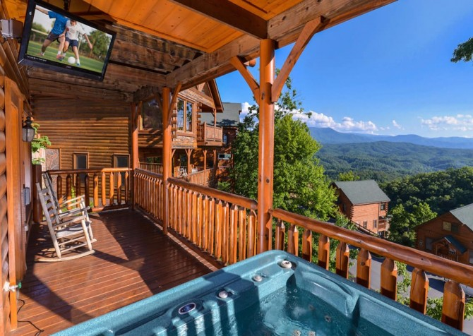 Pigeon Forge Cabin- Awesome Views and a Theater – Outdoor Hot Tub with TV