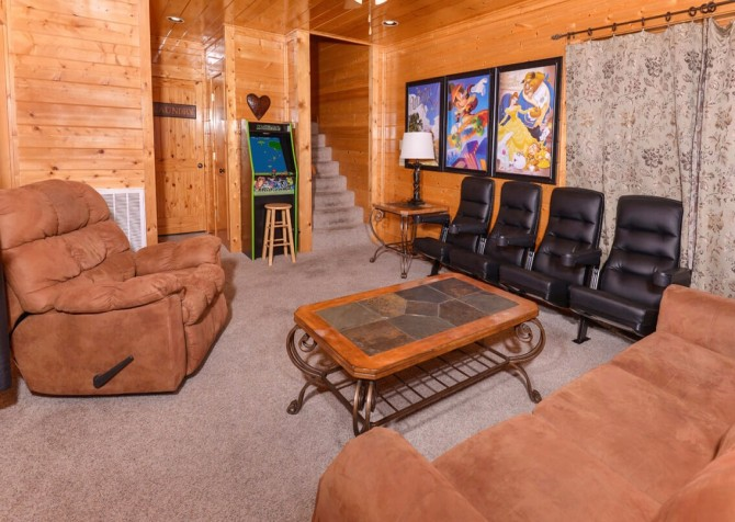 Pigeon Forge Cabin- Awesome Views and a Theater – Theater Room Seating