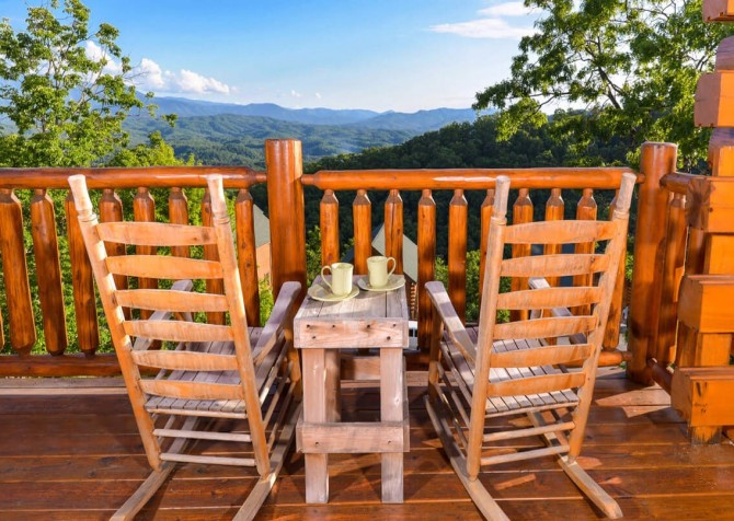 Pigeon Forge Cabin- Awesome Views and a Theater – Deck Rocking Chairs View