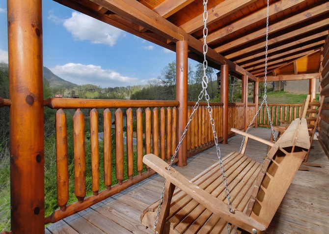 Pigeon Forge Cabin- American Bear Cabin – Deck Swing