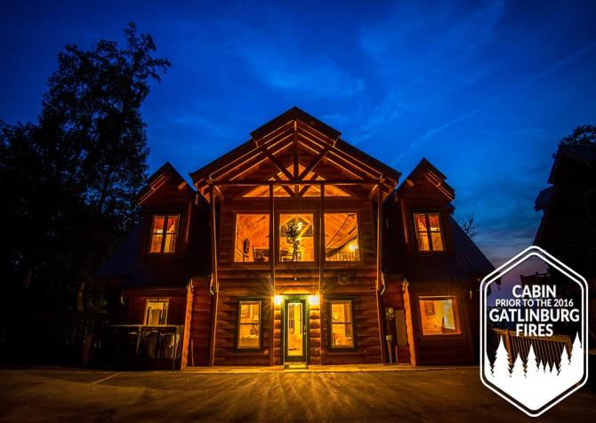 Gatlinburg - Big Bear Views Lodge - Cabin Front Twilight