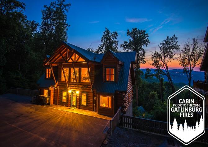 Gatlinburg - Big Bear Views Lodge - Cabin Side Twilight