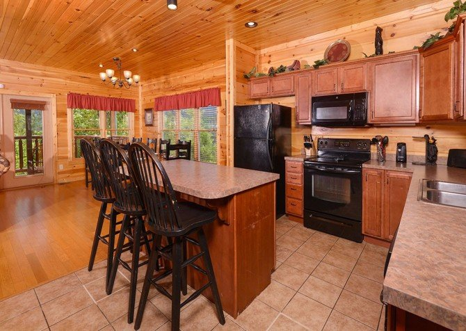pigeon forge cabin – endless views and a theater – kitchen