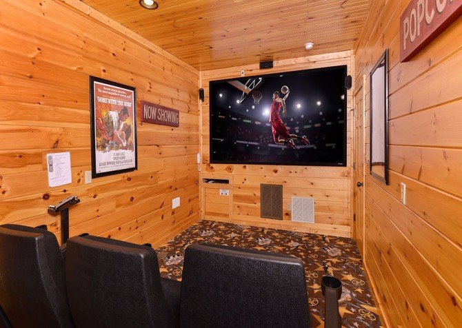 pigeon forge cabin – endless views and a theater – theater