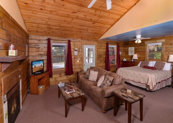 Gatlinburg Cabin- Precious Moments – Living and Bedroom