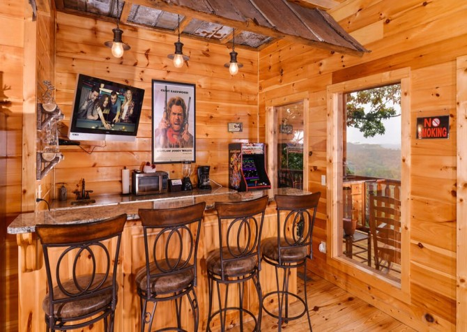 pigeon forge cabin – deer leap – bar area