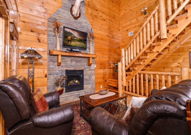 pigeon forge cabin – deer leap – living