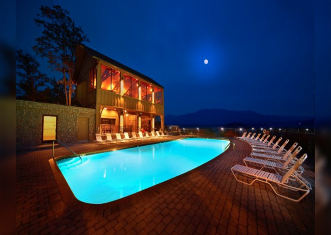 Pigeon Forge - View of God's Country - Resort Pool Twilight