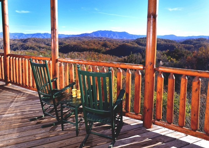 Pigeon Forge Cabin- Mt. LeConte Views Lodge –  Deck View
