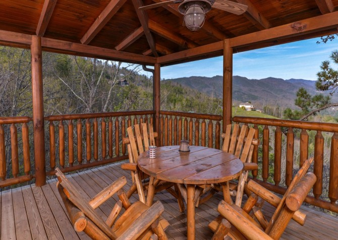 Pigeon Forge Cabin- Once Upon A View – Deck Sitting Area