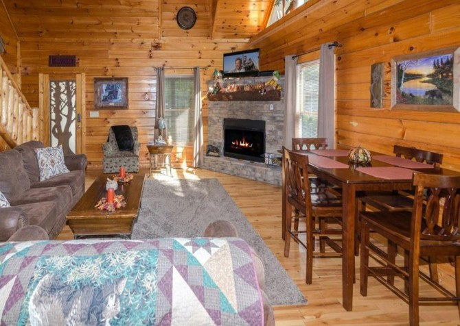 Pigeon Forge - Bear Hiney Hideaway - Living Room TV