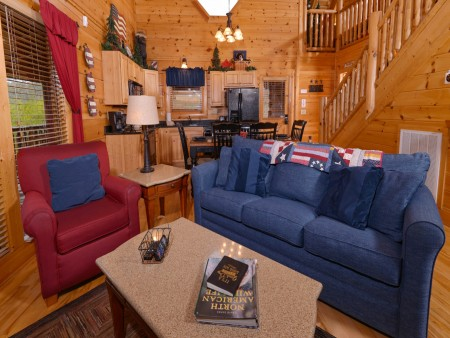 Pigeon Forge Cabin- American Bear Cabin – Living Room - Kitchen