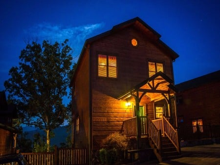 pigeon forge cabin – endless views and a theater – view