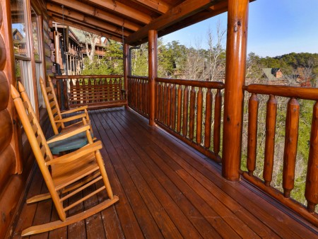 Pigeon Forge Cabin- It's A Wonderful Life – Exterior Deck Rockers