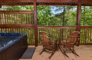 Pigeon Forge Cabin- Along The Right Path – Outdoor Hot Tub Seating Area